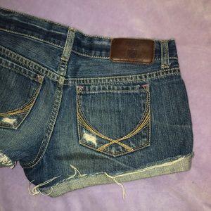 PINK VS Distressed denim shorts
